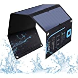 BigBlue 5V 28W Solar Charger with Digital Ammeter, Waterproof Foldable Solar Panels with Dual USB Ports Compatible with iPhon