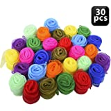 Blovec Juggling Silk Scarves, 30 pcs Square Dance Scarf Magic Movement Scarves Performance Props Accessories 24 by 24 Inch in