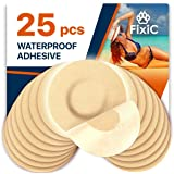 Fixic Freestyle Adhesive Patch 25 PCS - Enlite - Guardian - NO Glue in The Center of Patch - Pre Cut Back Paper - Tan Color -
