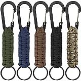 5 Pcs Paracord Keychains with Carabiner, SENHAI Braided Lanyard Ring Hook Clip for Keys Knife Flashlight Outdoor Camping Hiki