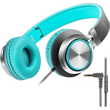 子供用ヘッドホン FOSTO キッズ用 ヘッドホン折りたたみ式 ボリューム制限 密閉型 マイク付き 低音域 MP3 携帯 ゲーム機 (グレーブルー)
