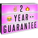 A4 Cinematic Colour Change Lightbox | 205 Letters & Emoji | Multicoloured LED Remote Controlled Light Up Box Sign | Battery o