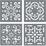 Mexican Tile Stencil Set - Pack of Four 4x4 Tile Stencil Designs for Painting - Wall or Floor Tile Stencil Designs - for Maki