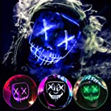 ZEERA Halloween Purge Mask Light Up Scary Mask EL Wire LED Mask for Festival Party Gifts