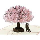 Penta Angel Handmade Cherry Blossom Card Pop Up 3D Flower Card Romantic Love Letter Greeting Anniversary Wedding Valentine Bi