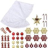 A ANLEOLIFE Full Set of Christmas Tree Skirt Kit with 30 Hanging Ornaments and Topper Star, Bonus Felt Burlap Ribbons (Xmas T