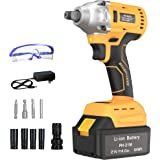 """GardenJoy Cordless Power Impact Wrench: 21V Electric Impact Drill with 4.0A Battery Brushless Motor with 1/2""""Chuck 260 Ft-lb"""