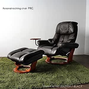 【 開梱 設置・無料 】PRC パーソナルチェア BK リクライニングチェア ホームシアター チェアーオットマン 一人掛けソファ 1Pソファ 耐久性レザー仕様 grove (ブラック)
