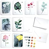 Cute Watercolor Greenery assortment set by Blule Box of 24 botanical paintings Greeting Cards with Envelopes and Seal Sticker