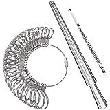 Meowoo Ring Sizer Measuring Tool,Aluminum Ring Mandrel and Finger Gauges (Metal Ring Sizer Tool Set)