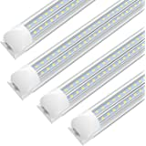 LED T8 Integrated Single Fixture, 4FT, 2800lm, 6000K Cool White, 28W,Double Side V Shape Utility Shop Light, Ceiling and Unde