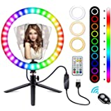 """10"""" RGB Selfie Ring Light with Tripod Stand and Phone Holder, LED Ring Light with Camera Remote Shutter for TikTok/YouTube/Vi"""