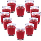 CoCo-Life 12 Pack Red Votive Candles with Clear Decorative Glass Holders, Unscented Soy Wax Candle Set, Decorations for Dinne