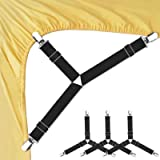 Bed Sheet Fasteners, Adjustable Triangle Elastic Suspenders Gripper Holder Straps Clip for Bed Sheets,Mattress Covers, Sofa C