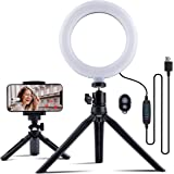 """MUSON LED Selfie Ring Light with Tripod Stand & Phone Holder, 6"""" Desktop Ring Lights with Dimmable 3 Light Modes & 11 Brightn"""