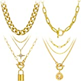 4PCS Gold Layered Chain Necklace set for Women Girls Boho Choker with Lock Coin Pendant Dainty Initial Necklaces Chunky Curb