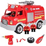 REMOKING STEM Educational Take Apart Vehicle Toys,32Pcs Fire Engine Set with Electric Drill&Lights&Sounds,Best  Boys and Girl