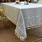 TEWENE Tablecloth, Rectangle Table Cloth Cotton Linen Wrinkle Free Anti-Fading Checkered Tablecloths Washable Table Cover for