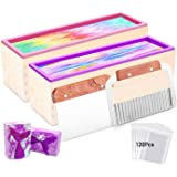 Farielyn-X 2pcs Silicone Soap Molds kit - 42 oz Flexible Rectangular Loaf Soap Mold kit Comes with Wood Box,Stainless Steel W