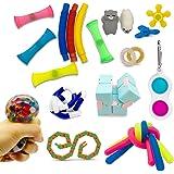 Fidget Pack Fidget Toys 21 pcs, Popular Sensory Toys Box Set, Infinity Cube/ Simple Dimple/ Stress Ball/ Pop Tubes/ Tangle/ W