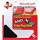 Grips the Rug NeverCurl Includes 8 V Shape Corners - Patent Pending. Instantly Flattens Rug Corners AND Stops Rug Slipping. G