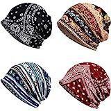 4 PCS Chemo Caps, Womens Baggy Slouchy Beanie Hat Sport Casual Headwear Wide Headbands Scarf Sleep Chemo Slouchy Snood Hats C