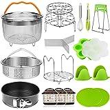 18 pieces Pressure Cooker Accessories Set Compatible with Instant Pot 6,8 Qt - 2 Steamer Baskets, Springform Pan, Stackable E