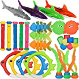 heytech 29 PCS Dive Toys Pool Toys Underwater Swimming Toys Diving Torpedos, Diving Rings, Diving Gems, Diving Sticks, Diving