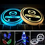 Aswelly LED Car Cup Holder Lights, 2PCS Car Logo Cup Coaster with 7 Colors Changing USB Charging Mat, Luminescent Cup Pad Int