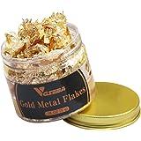 VGSEBA Gilding Gold Leaf Flakes, 5g/Bottle Metallic Imitation Gold Foil Flakes for Gilding, Painting Arts, Crafts Nails and D