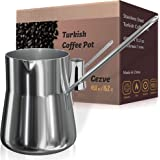 Turkish Coffee Pot, Warmer milk, Ibrik Cezve Arabic Briki Coffee Pot, Stainless Steel, 15 Ounce, Espresso Coffee Decanter, Gr