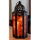 Amber Glass Moroccan Style Lantern with Optional Matching LED Fairy String Lights