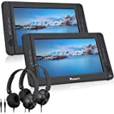 """NAVISKAUTO 10.1"""" Dual Screen Portable DVD Player for Car, Headrest Video Player with Headphones, 5-Hour Rechargeable Battery"""