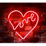 "Isaac Jacobs 14"" inch LED Neon Red""Love"" Heart Wall Sign for Cool Light, Wall Art, Bedroom Decorations, Home Accessories, Par"