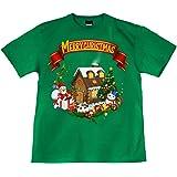 [GENJU] Tシャツ クリスマス サンタクロース スワロフスキー 裏もデザイン有 メンズ キッズ
