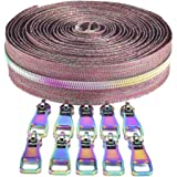 VOC #5 Nylon Coil Zippers by The Yard Long Zippers for Sewing Colorful Zipper Tape 5 Yard with 10PCS Rainbow Slider-Zipper Ro