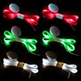 Novelty Place [3 Pairs] LED Light Up Shoelaces with 3 Modes for Party, Dancing, Running & DIY - 3 Pairs (Green, Red & White)