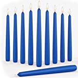 """Set of 10 Blue Dripless Taper Candles 10"""" Inch Unscented Tall Dinner Candles for Wedding Restaurant Home Decoration Spa Churc"""