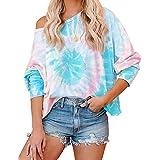 SAUKOLE Women's V Neck Off Shoulder Long Sleeve Cotton Hoodie Sweatshirt Colorblock Tie Dye Printed Pullover Tops