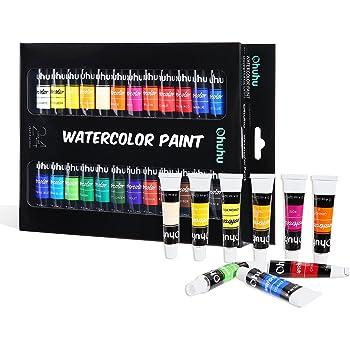 Ohuhu 水彩絵具 水彩 24色 チューブ 透明 絵具 絵の具 セット 絵 美術 学習教材 学校教材 画材 イラスト 宿題
