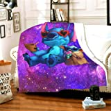 Sufei Stitch and Yoda Blanket Super Soft Warm Solid Blanket Sofa Bedding Blanket Flannel Bed Sofa and Living Room for Kids Ad