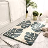 NeatBlanc Decorative Bathroom Rug Leaves Pattern Design Non-Slip Soft Microfiber Bath Mat Absorbent Machine Washable Plush Ca