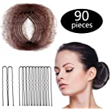 Hair Nets Invisible Elastic Edge Mesh and U Shaped Pins Set, 50 Pieces 50cm Individual Package Invisible Hair Nets, 40 Pieces