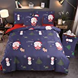 Nattey Christmas Duvet Cover Set,with Deer Santa Claus Christmas Tree Snowflakes Bedding Set (Queen, Navy)