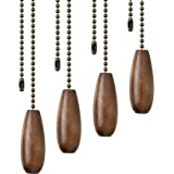 4 Pieces Ceiling Fan Chain Pulls Wooden Pull Chain Extension Pull Chain for Ceiling Light Lamp Fan Chain (Walnut Color)