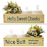 Awopee Nice Butt Bathroom Decor Box, Toilet Paper Holder, Farmhouse Wood Box Crate Storage Bin, Bathroom Rustic Home Decor (B
