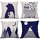 KACOPOL Woodland Style Cute Cartoon Bear & Mountain Throw Pillow Cover Cotton Linen Rustic Nursery Home Decor Pillow Case Cus