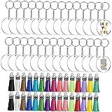 Acrylic Keychain DIY Blank Keyring Key Chain with Tassels Acrylic Circle Random Corlor 30PCS