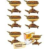 100% Pure Traditional Brass Diwali Diya (6 pc Set) Indian Pooja Oil Lamp - Golden Engraved Design Dia with Turtle Base. Deepa