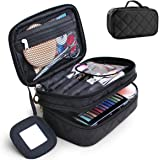 Travel Cosmetic Makeup Bag, MOTYYA Portable Double Layer Versatile Makeup Pouch Toiletry Organiser Nylon Tote Zipper Small St